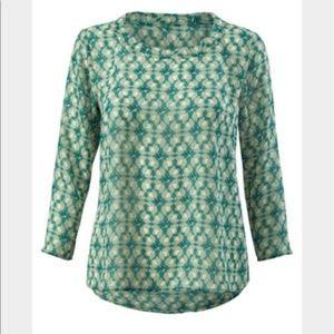 Cabi Jade Green Leaf Print Top Style 3069 S/M